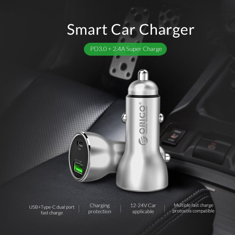 ORICO Car USB Charger Quick Charge Mobile Phone Charger Fast USB PD 3.0 Car Charger for Samsung Xiaomi Tablet Charger