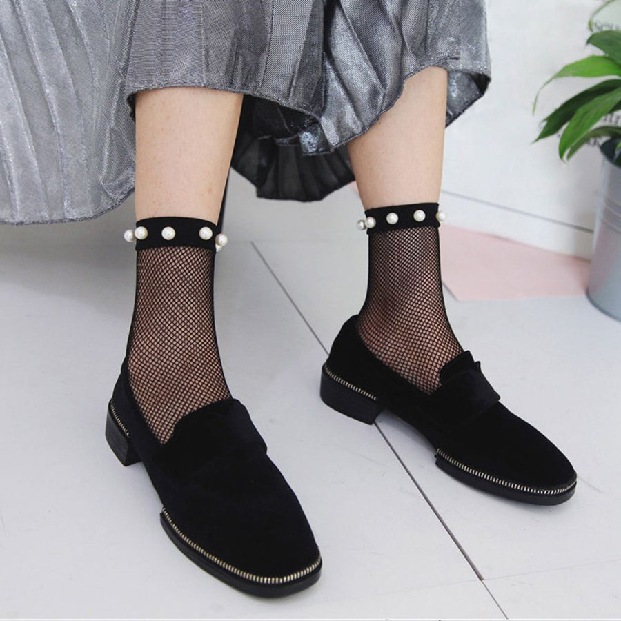 Fashion Women Ruffle Fishnet Ankle High Socks Imitate Pearl Mesh Lace Socks Flat Mesh Harajuku Mesh Socks