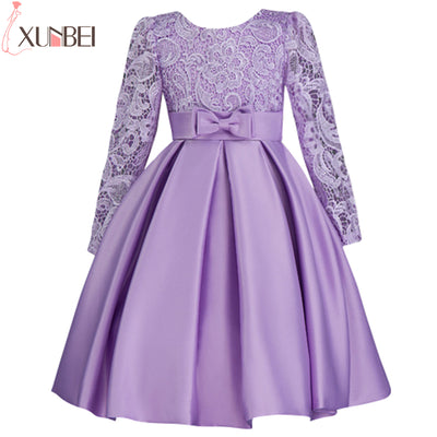 4bf29c22bd6 Long Sleeve Lace Purple Flower Girl Dresses 2018 Lovely Bow Sash Ball Gown  First Communion Dresses