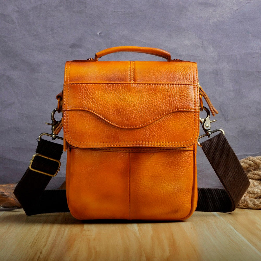 "Original Leather Male Fashion Casual Tote Messenger bag Design Satchel Crossbody One Shoulder bag 8"" Tablet Case For Men 144lb"