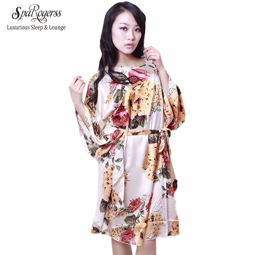 SpaRogerss Plus Size Women Nightgowns 2017 Ladies Sleepshirts For Mothers Fashion Batwing Casual Home Summer Female Robes YT7795