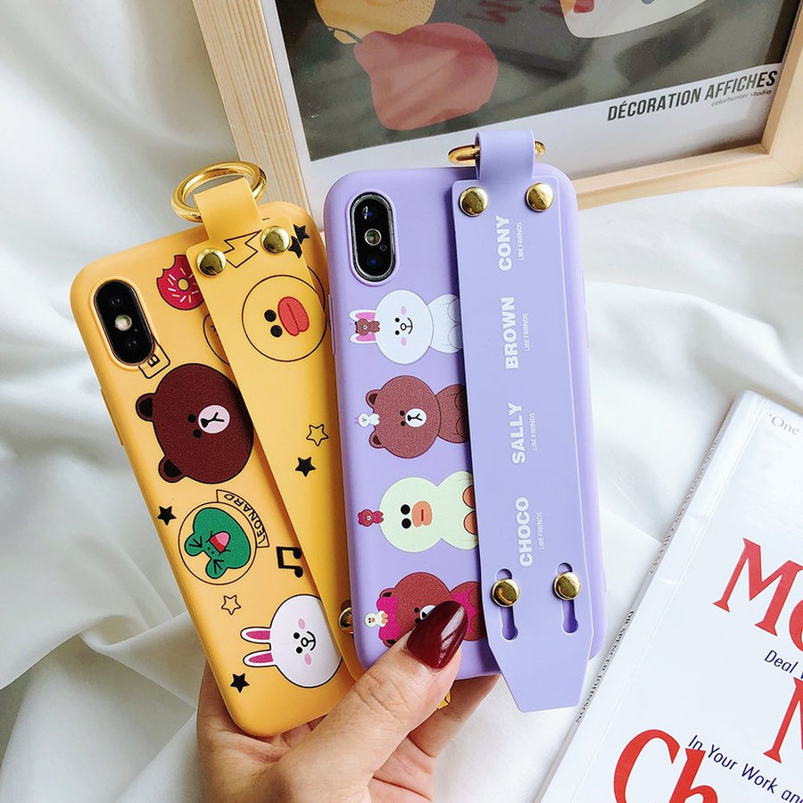 Beily Unique Cute Case for iPhone XS Max XR X 7 8 6 6S Plus Luxury Cartoon Lovely Hide Hand Strap Stand Ring Holder Cover Case