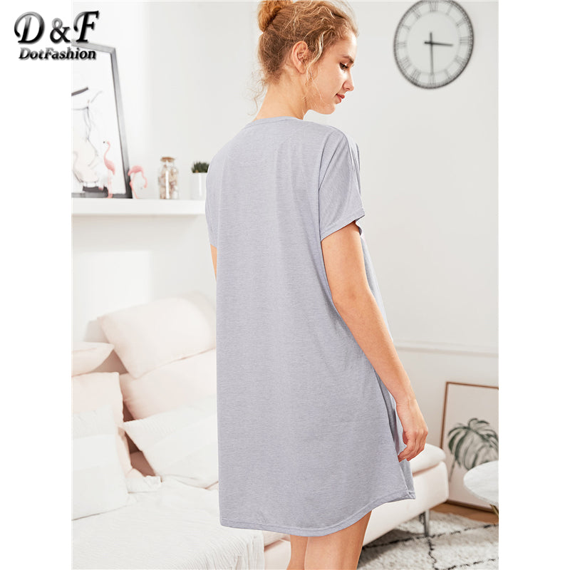 Dotfashion Letter Print Curved Hem Nightgowns 2018 Summer Round Neck Short Sleeve Nightwear Women Grey Casual Nightdress