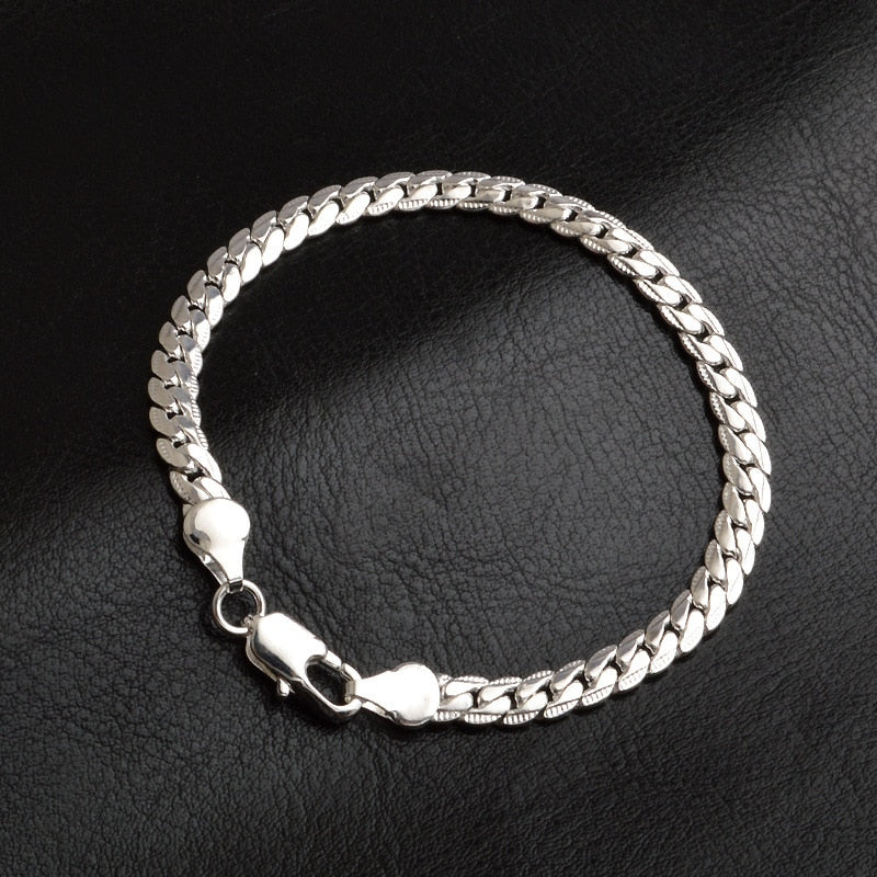 Luxury Gold Silver Color Copper Chain Mens Hiphop Bracelet Minimalist Metal Braslet For Male Hip Hop Armband Jewelry Homme