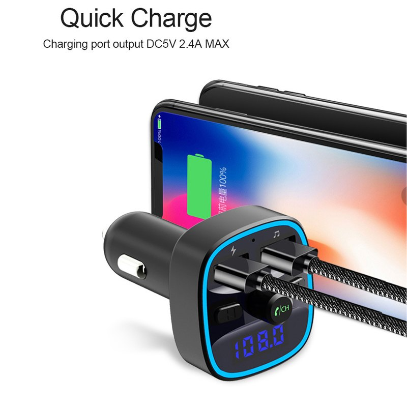 URANT USB Car Charger For Mobile Phone Tablet FM Transimission Bluetooth MP3 Player Dual USB Chargers with Handsfree for Cars