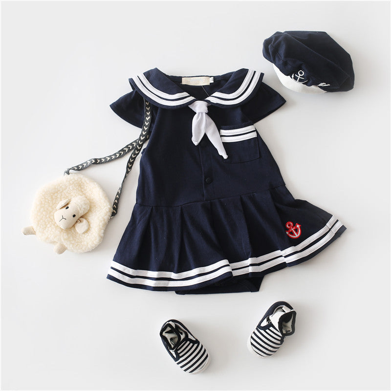 158e5cc86390 HOT New Born Baby Clothing Navy Style New Baby Romper Cute Girl White