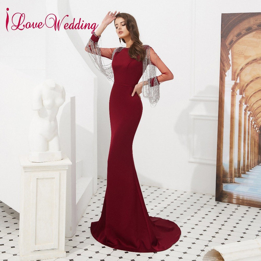 iLoveWedding 2019 Robe De Soiree O Neck Crystal Tassel Long Sleeves Evening Dresses Long Sweep Train Evening Party Gown