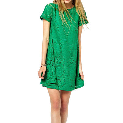 d201ffd93e6a LASPERAL Dress Summer 2018 Lace Dress Loose O Neck Short Sleeve Casual  Sundress Hollow Out Slim