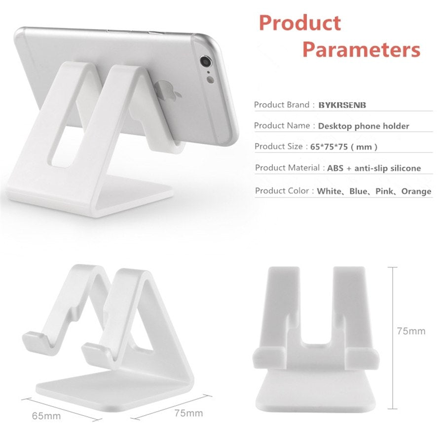 BYKRSEN Universal Desk Holder Tablet Mobile Phone Holder with Shock-proof Silicone Pad Strong Plastic Cell Phone Stand Mount