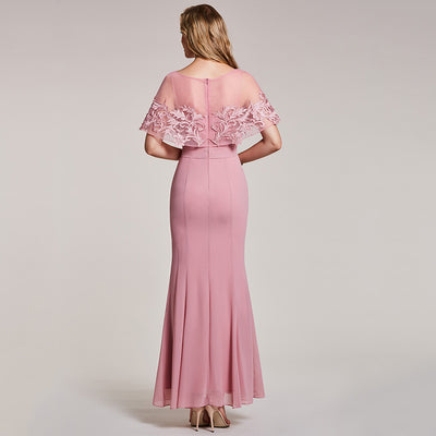 37e7639429f03 Tanpell mermaid evening dress pink bateau neck half sleeves floor length  gown women appliques long party