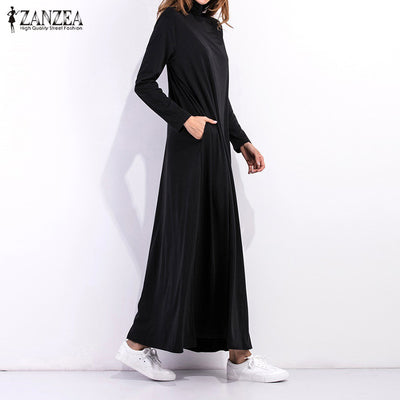 2018 Autumn Dress Women Long Sleeve Turtleneck Long Maxi Dresses Ladies  Solid Black Dress Loose Pockets 22ce5d1875fc