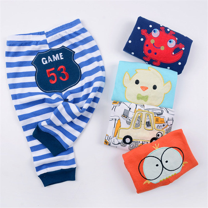 Toddler Full Length Pants Newborn Baby Autumn Cotton Costumes Infant Girl Boys Clothing Unisex Mid Waisted Character Trousers