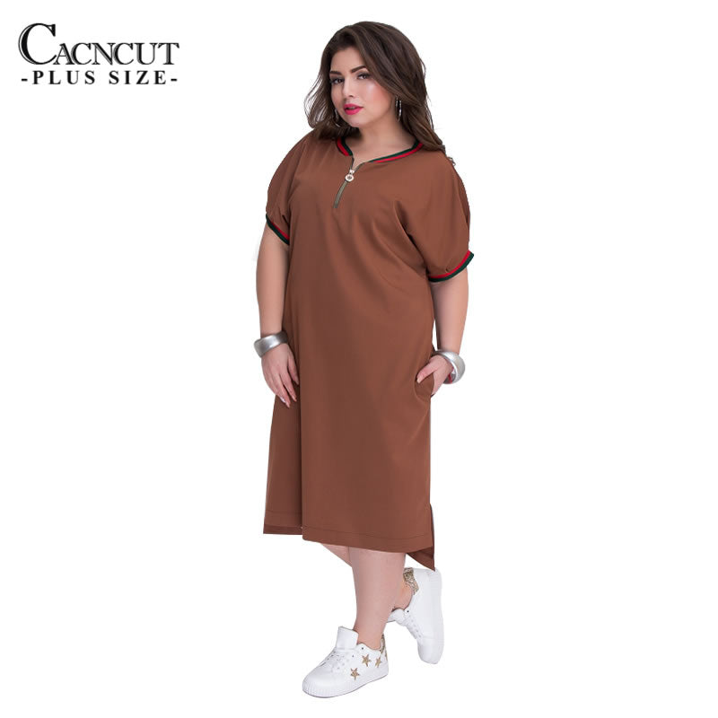 CACNCUT 5XL 6XL 2018 Plus Size Straight Dresses Women O-Neck With Zippers Big  Size a0252e4aaa1c
