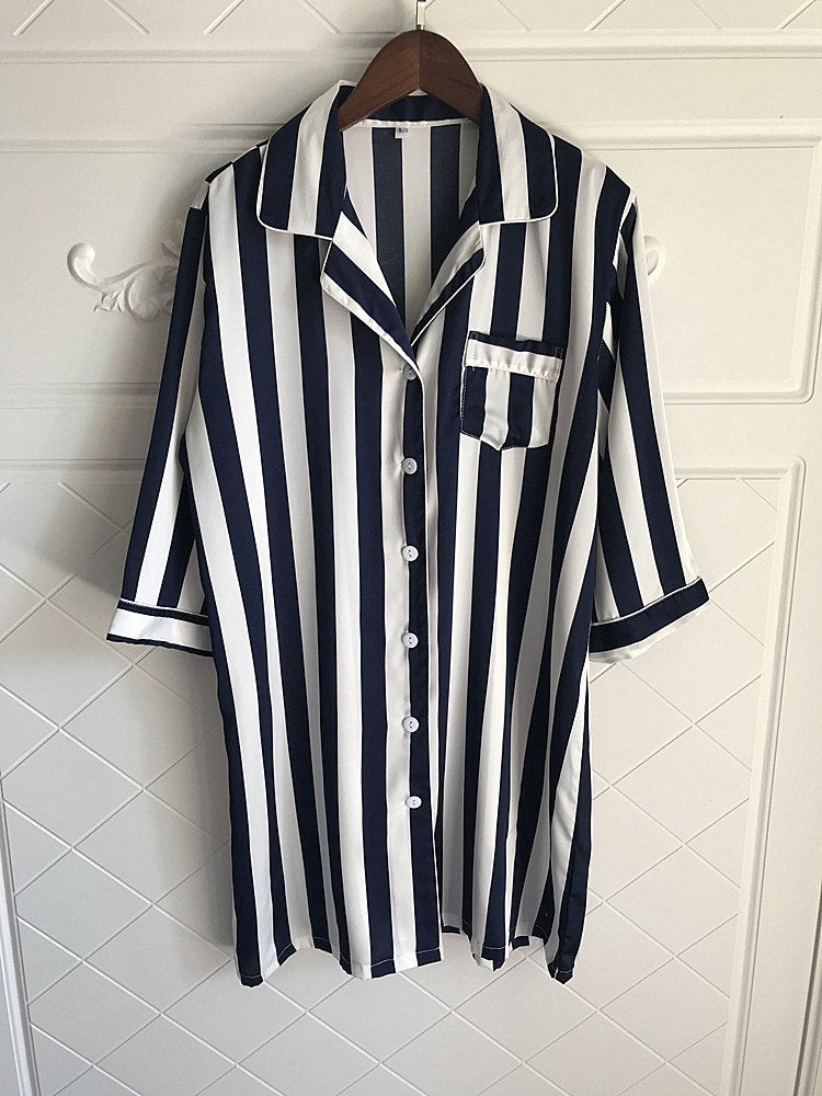 Lisacmvpnel Loose Striped Women Nightgown Boyfriend Wind Long Section Sleepwear