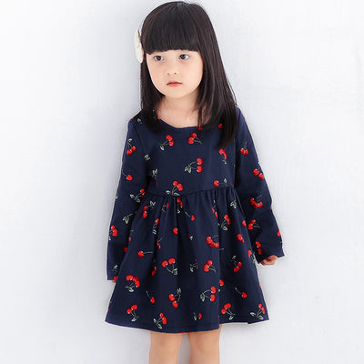 bd9906df17a 2018 Spring Summer Children Kids Dresses for Girls Cherry Dress Children  Clothes Full Sleeve Princess Party