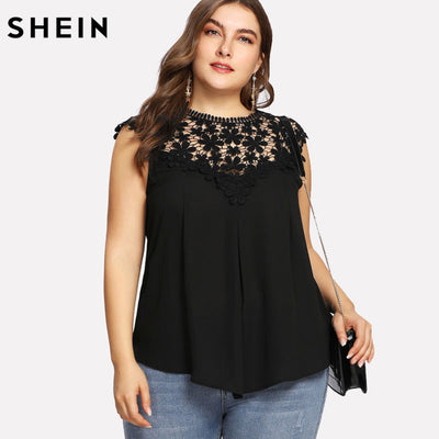 f3c980b8f8 SHEIN Plus Size Black Lace Sleeveless Blouse Women Summer Keyhole Back  Daisy Lace Shoulder Shell Top