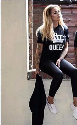 62f8c0a10f8 Summer Lovers Tshirt KING QUEEN Imperial Crown Couple T-shirt Women Men  Funny Letter Print