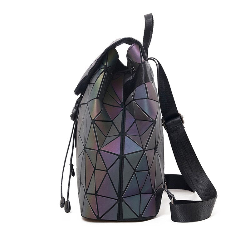 Aliwood Women's backpack Hologram Geometric Diamond Backpack Luminous Travel Men and Women backpack School bag Mochila Feminina