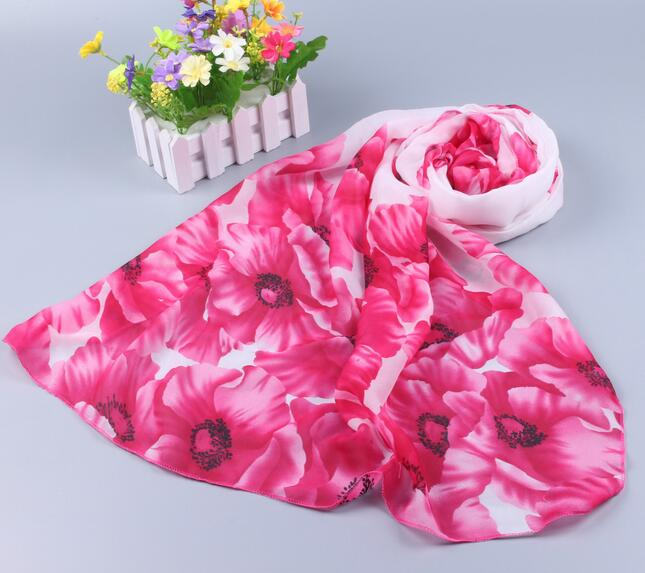 yishine Red Poppy  Flowers Prints Chiffon Scarves Shawl for Women Ladies Fashion Shawls for Girls in Summer Beach Scarf