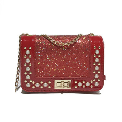 2019 New Korean Version Of The Rivet Sequins Decorative Small Square Bag Shoulder Messenger Chain Bag