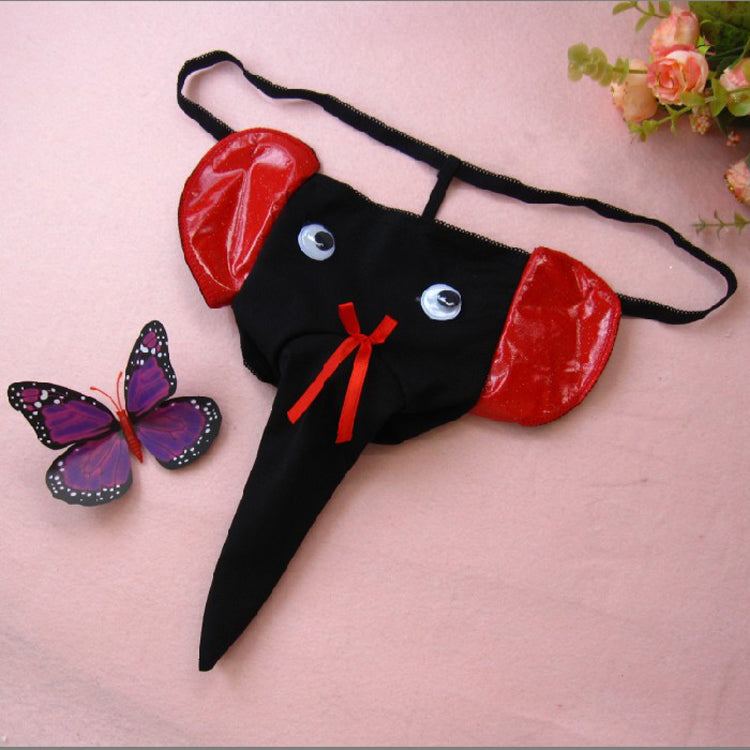 3491d854b750c Fake Leather Men Sexy Thong U Convex Elephant Nose Pouch Mens Funny  Underwear Thong G String