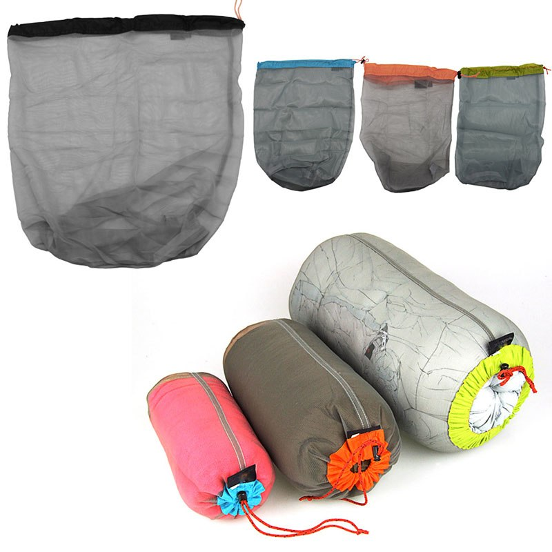 1Pc Nylon Ultra Light Mesh Stuff Sack Storage Bag Travel Camping Hiking Drawstring Bag Picnic Bags