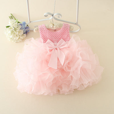 bd74914406 Hot Lace flower girls wedding dress baby girls christening cake dresses for  party occasion kids 1 year baby girl birthday dress