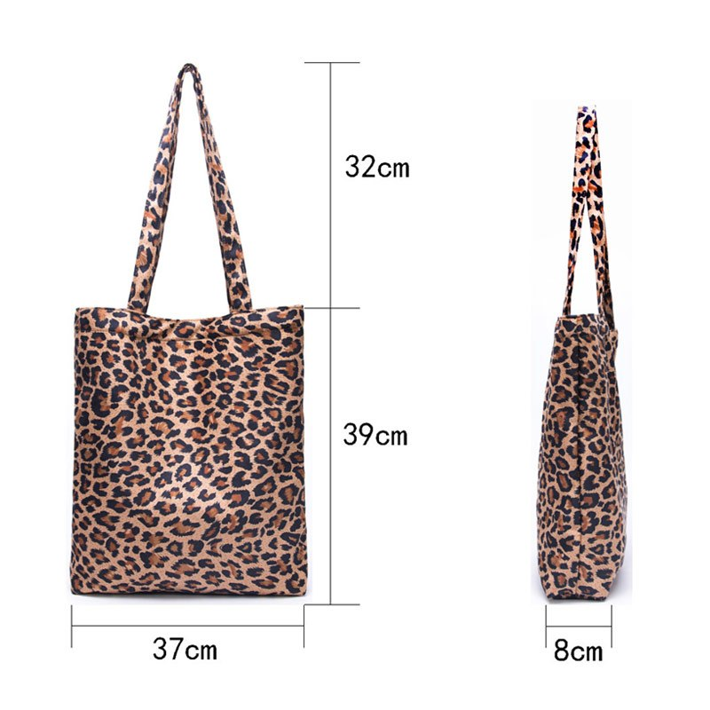Women's Bag Fashion Leopard Deerskin Canvas Simple Retro Printing Shoulder Portable Female Tote Bag Shopping Bag Good Quality