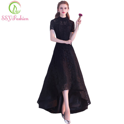 SSYFashion New Black Cocktail Dress The Bride Banquet Elegant Lace Party  Gown High low Short 54ef70dcd58f