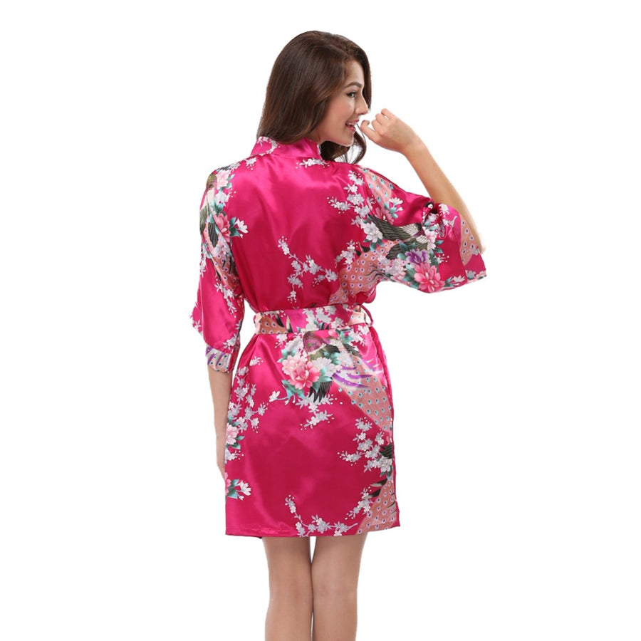 2018 Print Floral Silk Satin Bathrobe Kimono Peacock Design Bridesmaid Bridal Robes Dressing Gowns For Women Nightgown Sleepwear