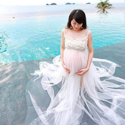 5be842afd4ae6 Hot Sale Maternity Photography Props White Lace Pregnancy Dress Long Maternity  Dress for Photo Shoot Maxi