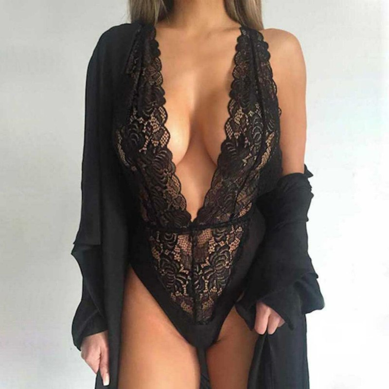 Hot New Women Sexy Deep V Neck Lace Lingerie Sleepwear Dress Underwear Babydoll Nightgown Black nightdress chemise (No coat)
