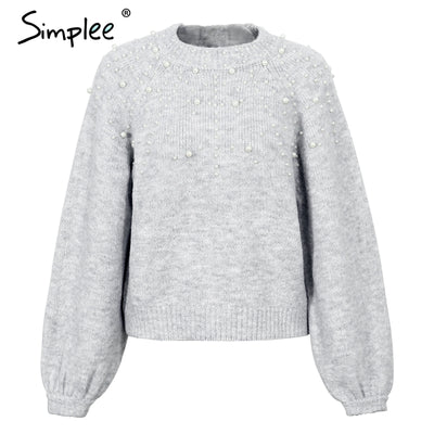 447b11d99c Simplee Pearl turtleneck winter knitted sweater Women lantern sleeve loose  gray pullover female Soft warm autumn