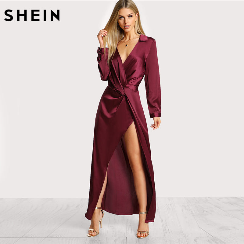 da1d62221dc2a SHEIN Burgundy Sexy Party Dress Satin Front Twist Wrap Dress Lapel Deep V  Neck Long Sleeve