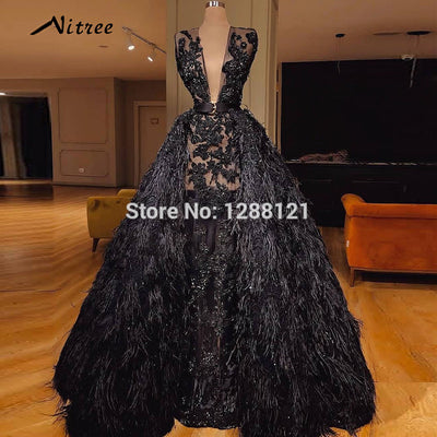 66e9dcf5bb444 Arabic Black Feathers Evening Dresses 2018 Turkish Dubai Muslim Formal Prom  Gowns Dress For Weddings Glitter Abendkleider Gowns