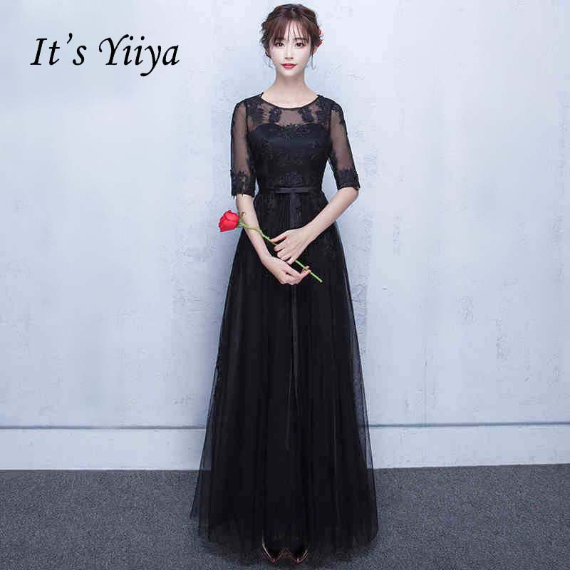 9ea33ecf1e It s YiiYa Half Sleeves Illusion A-line Vintage Elegant Lace Up Dinner Party  Frocks Dresses