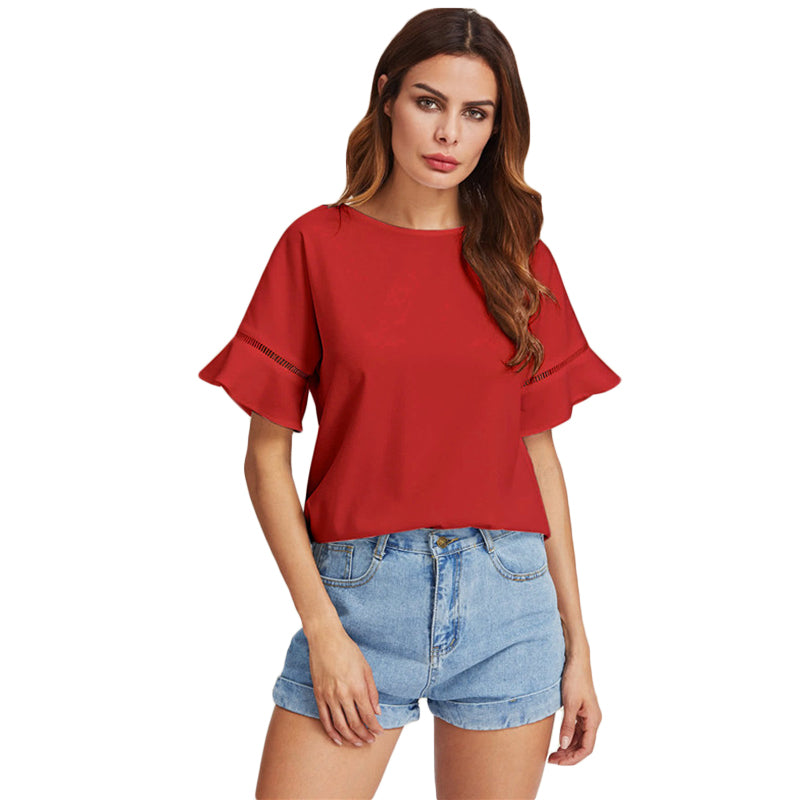 c6f26727617 SHEIN Ladder Lace Insert Trumpet Sleeve Top Summer Womens Blouses Plain Red Short  Sleeve Casual 2017