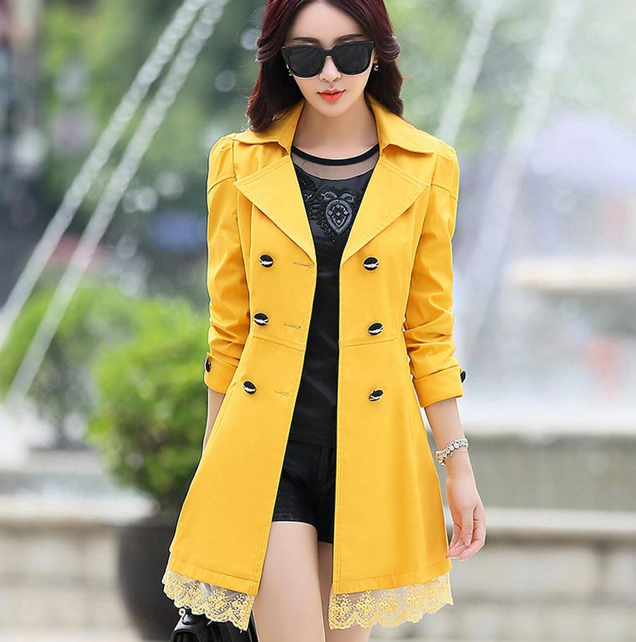 2018 fashion female spring slim trench coat / women's lace lap style solid colour double breasted long coat / size S-XXXL