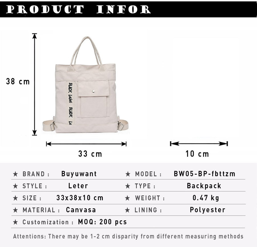 Buyuwant 2018 Women's bag canvas tote bag large capacity letter shoulder Messenger bag multi-function student bag BW05-BP-fbttzm