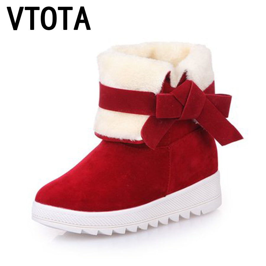 6da69ec2c376 VTOTA Women Winter Shoes Flat Warm Ankle Boots Butterfly-knot Snow Boots  Casual Warm Snow