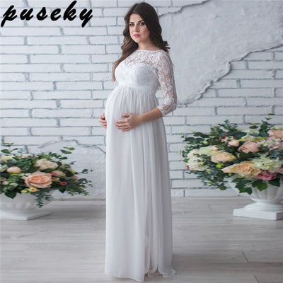 Puseky Maternity Clothing Dress Pregnant Woman Party Holiday Dress Lady Lace  Long Clothes Photo Shooting Dress 705d1b70132d