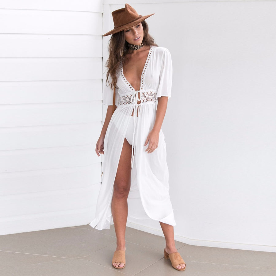 summer Women Chiffon Blouse white solid Kimono Beach lace up Cardigan tops Cover Up Wrap Sun Shirt Long Blouse shirt blusas