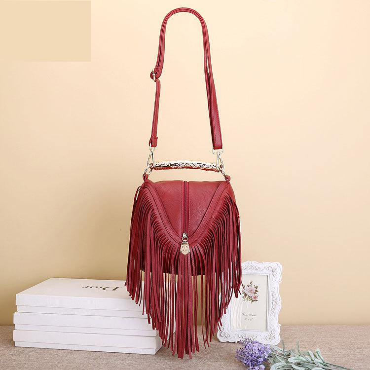 Hot Sell Fashion Women's  Tassel Shoulder Bags PU Leather Tote Bags Metal shiny handle Messenger Bags Fringe Handbags