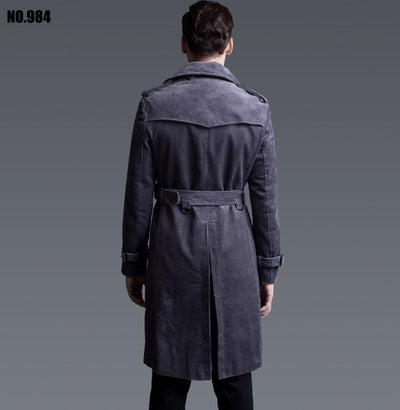 classic styles best deals on exceptional range of styles and colors New designer slim sexy double breasted trench coat men overcoat long sleeve  mens clothing corduroy outerwear casaco masculino