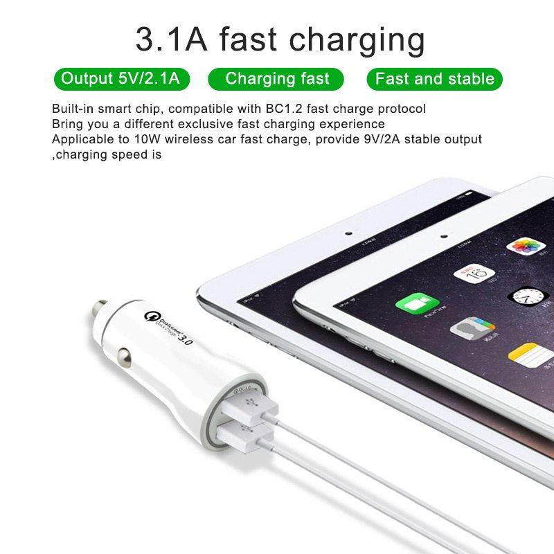 Quick Charge 3.0 Car Charger Universal 3.1A Fast Charging Dual USB Phone Charger in Car For iPhone XS Samsung Tablet Car-Charger