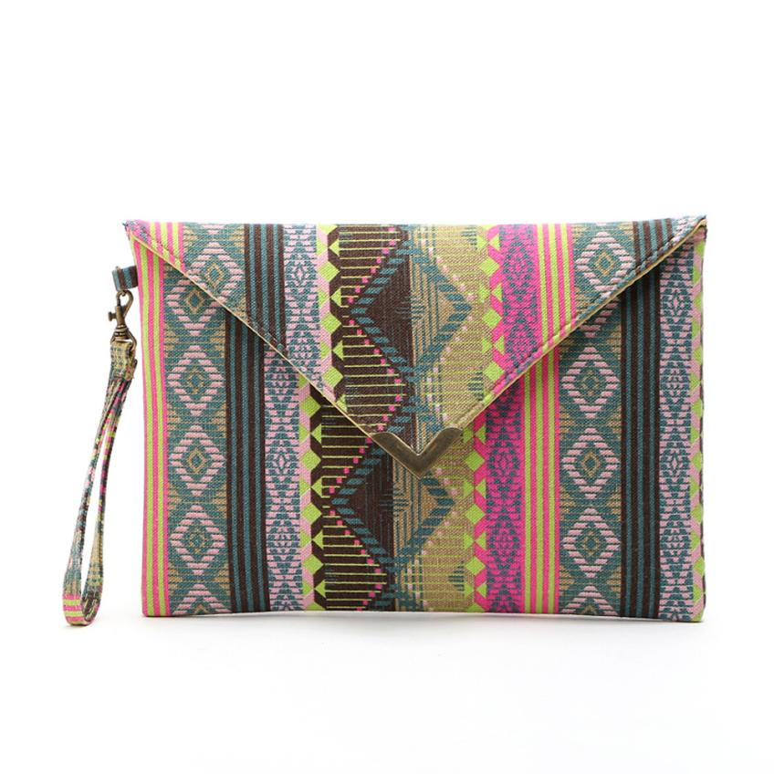 National flavor geometric canvas bags Envelope package ethnic style hand bags women phone package purses big wallet #QYLS0SF