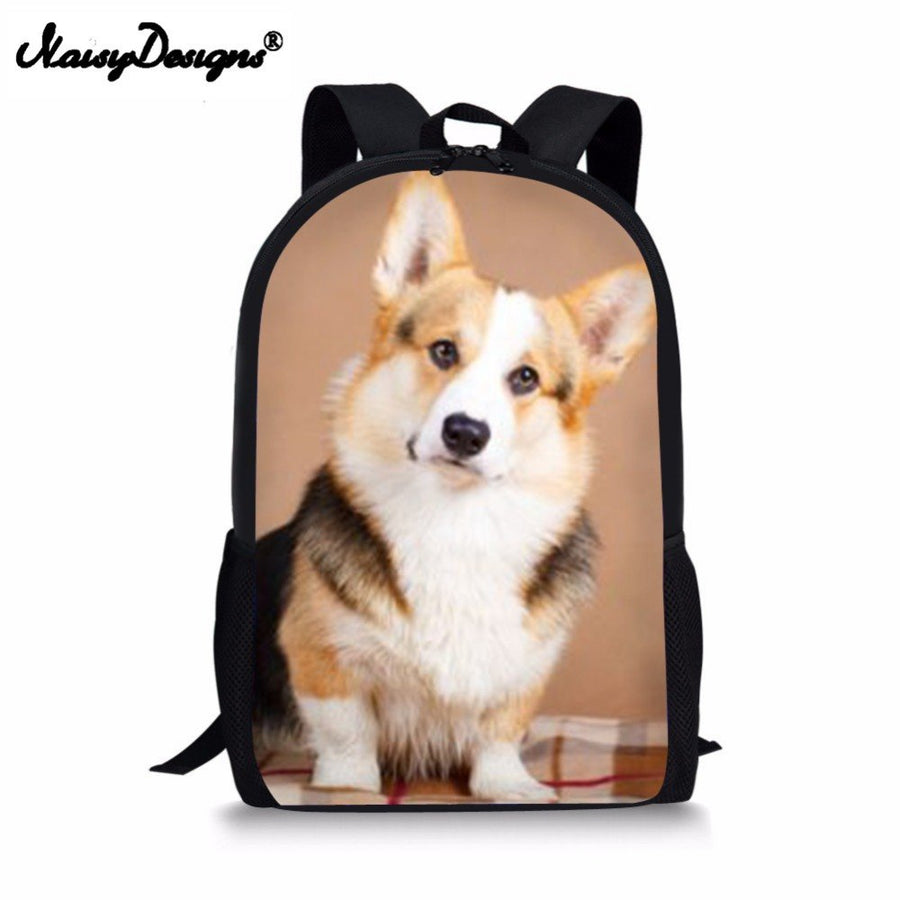 Welsh Corgi Pembroke Print Kids School Bag Backpack Schoolbags For Primary Student Boys Girls Cute Polyester Satchel Custom Drop