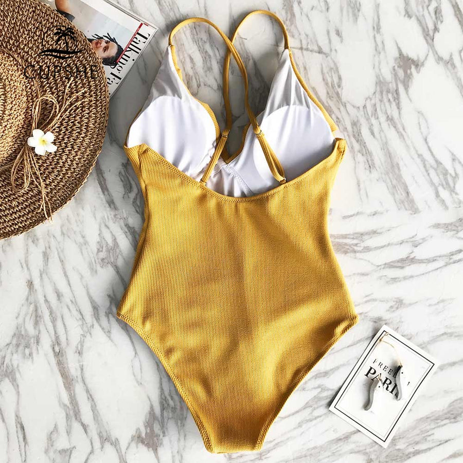 CUPSHE Happy Ending Yellow Solid One-piece Swimsuit Falbala V neck Ruffle Sexy Monokini 2018 Ladies Beach Bathing Suit Swimwear
