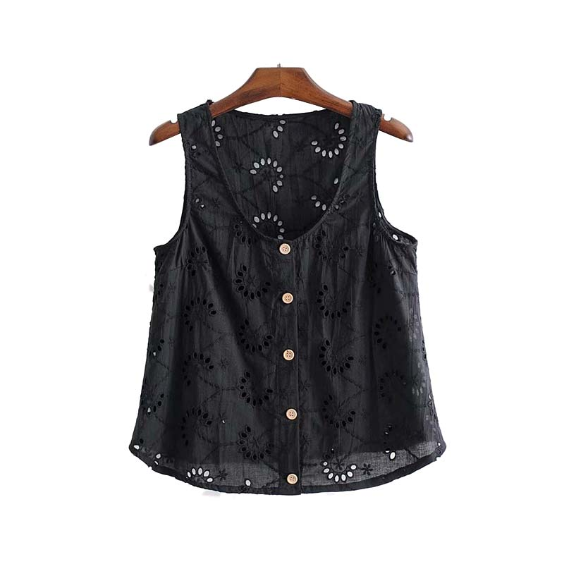 a66502f5082 Vadim women hollow out embroidery blouse buttons sleeveless Eyelet shirts  summer ladies casual black white tops
