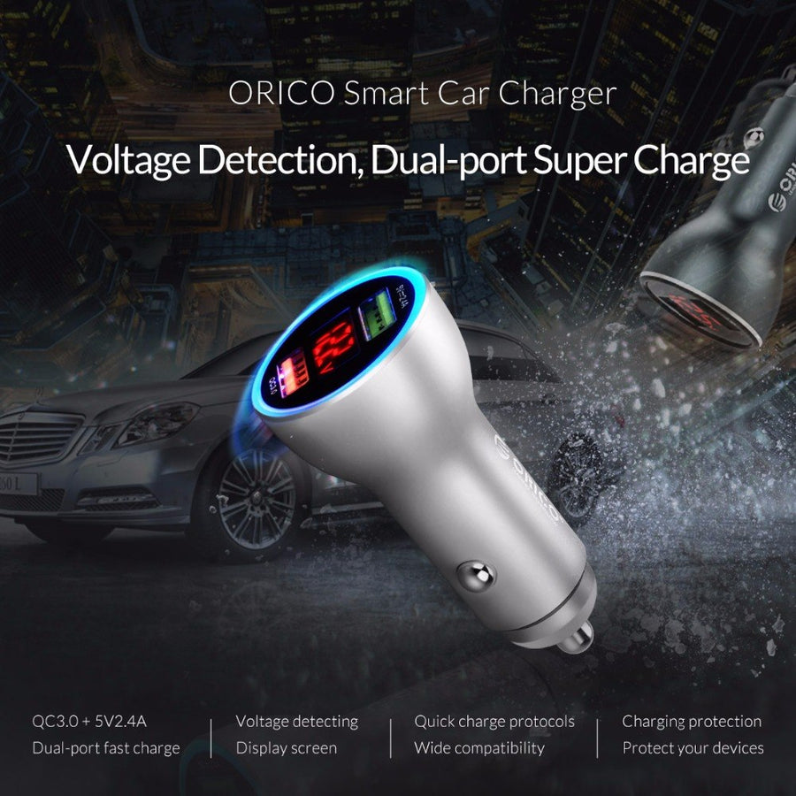 ORICO UPF-K2 Quick Charger Dual Output 30W Max Car Charger with LED Display Charge for Mobile Phone & Tablet